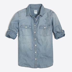 J.Crew Classic Chambray Shirt in Perfect Fit, sz 2
